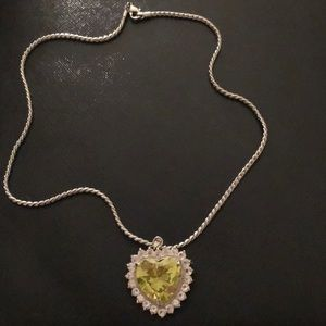 Silver Chain with a Peridot Gemstone heart